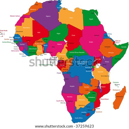 Colorful Africa Map Countries Capital Cities Stock Illustration