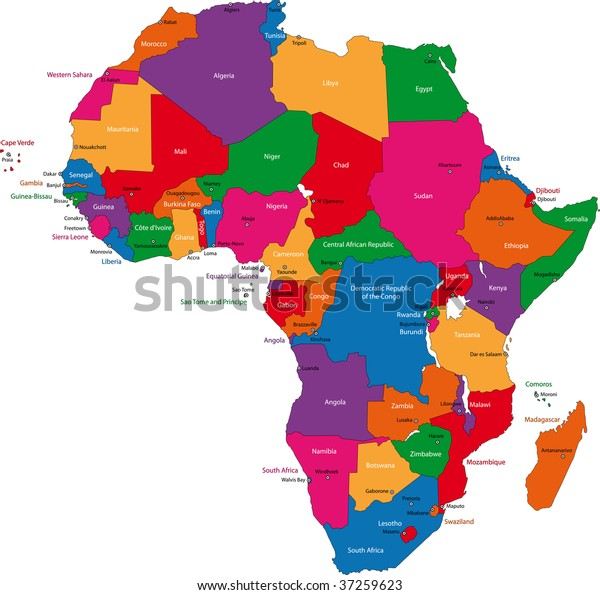 Map Of Africa With Countries And Capitals.Colorful Africa Map Countries Capital Cities Stock Illustration 37259623