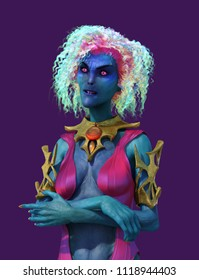 A colorful alien (or mutant) woman with wild hair and glowing eyes - 3D render.