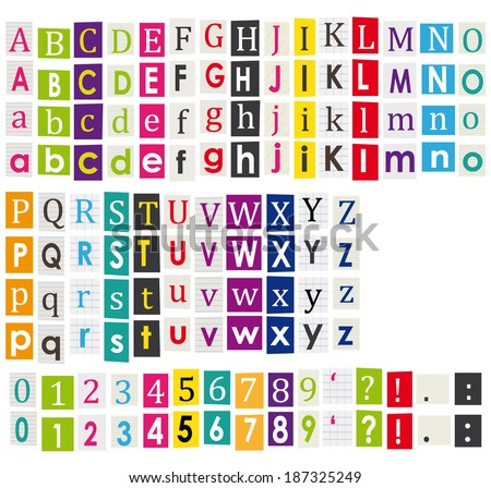 Colorful Alphabet Letters Cut Out Books Stock Illustration