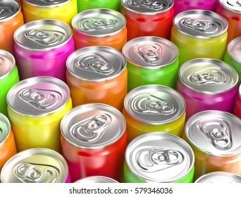 Colorful aluminum cans. 3D illustration