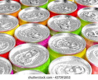 Colorful aluminum cans with water drops. 3D illustration