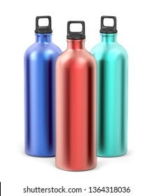 Colorful aluminum sport bottles on white background, 3D illustration