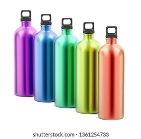 Colorful aluminum water bottles on white background, 3D illustration