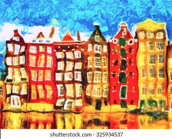 Colorful Amsterdam morphing buildings on canal psychedelic oil painting