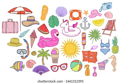 Colorful anddrawn summer icon set on white background