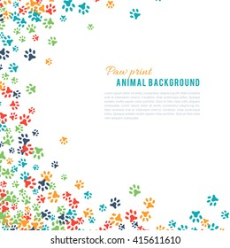 Colorful animal footprint ornament border isolated on white background. illustration for animal design. Random foot prints corner. Many bright trail. Frame of cute paw trace. World wildlife day
