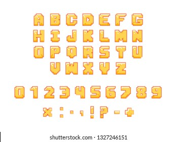 Colorful arcade font. Pixel letters, numbers and punctuation marks. Funny gaming font for computer web and apps.
