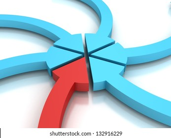 Colorful arrows pointing to a center point on white background