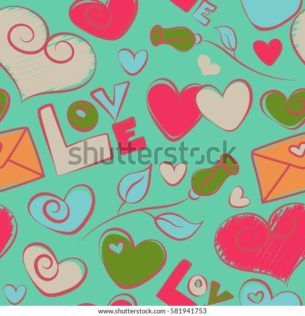 Colorful art for cards, packaging, paper, typography, business card, tissues. Seamless heart pattern, valentines. Hearts, rose flower and love letter on a green background.