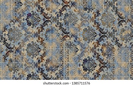 Colorful art oil paint texture wall and floor decorative tiles design pattern texture background,