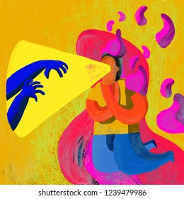 Colorful, artistic, metaphorical and conceptual illustration. Person who experiences anxiety when thinking about something that causes fear.