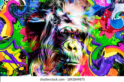 Colorful artistic monkey's head on background with colorful creative elements