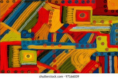 Colorful artsy looking abstract illustration digital creation to use as background or to draw the eye.