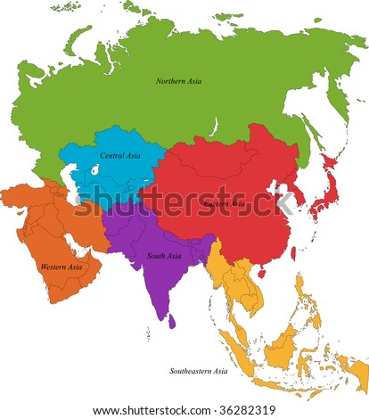 Colorful Asia Map Six Regions Stock Illustration 36282319 - Shutterstock