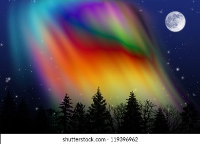 Colorful Aurora borealis over the night forest