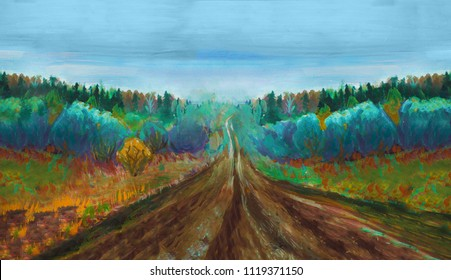 Colorful autmn landscape horisontal oil painting. Trees, road and blue sky. Modern impressionism.