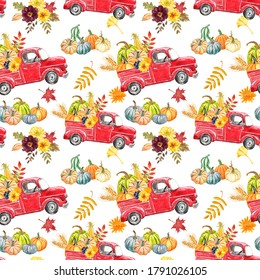 Colorful autumn harvest seamless pattern. Vintage red truck with pumpkins, flowers and leaf on white background. Thanksgiving day theme design.
