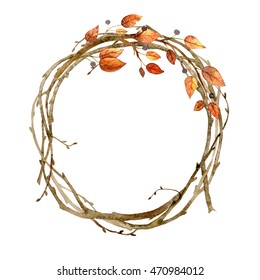 Colorful autumn wreath with autumn leaves. Colorful illustration watercolor.Hand drawn illustration. Design for wedding invitations, greeting cards, cards.