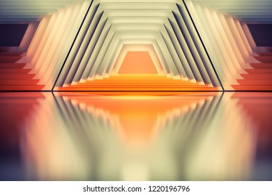 Colorful background with abstract geometric symmetrical trapezium shapes. Good for posters, brandings, placards or covers. 3d illustration.