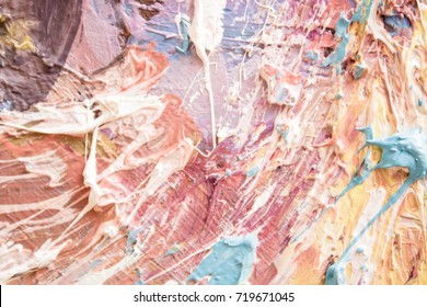 Colorful background. Bright  texture. Hand drawn oil painting on canvas. Abstract art  background. Color texture. Fragment of artwork. Spots of paint. Brushstrokes of paint. Modern art.