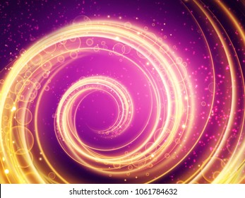 Colorful Background of Purple and gold spiraling lights.