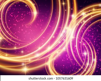 Colorful Background of Purple and gold swirling lights