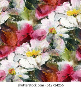 Colorful background with red flowers, acrylic painting. Seamless pattern. Hand-drawn illustration