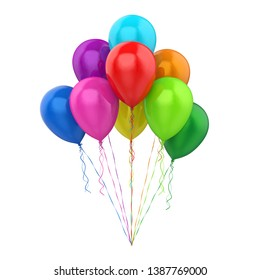 Colorful Balloons Isolated. 3D rendering