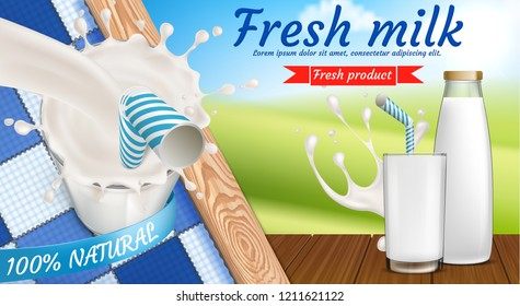 colorful banner with milk bottle and full glass of fresh dairy drink with drinking straw in it. Advertising poster of natural farm products with calcium for morning breakfast, healthy eating