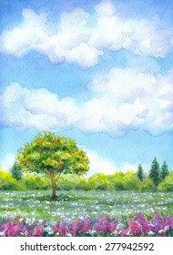 "Colorful beautiful bright watercolour on paper backdrop with space for text. Series ""Different seasons"". White cumulus in blue heaven over valley with lush tree, wildflowers and firs on horizon forest"