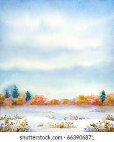 """Colorful beautiful vivid watercolour on paper backdrop with space for text. Series """"Different seasons"""". Gray clouds on overcast day over snow-covered valley with dry bushes and firs on horizon"""