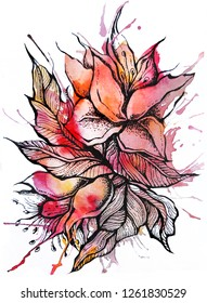 Colorful beautiful watercolor and graphic flowers, hand painted