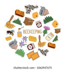 Colorful beekeeping elements icon. Vector illustration.