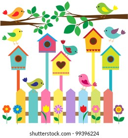 Colorful birds and birdhouses.Raster version