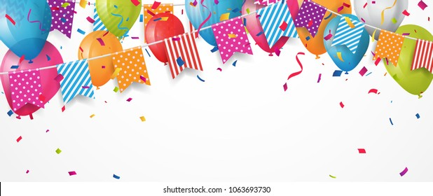 Colorful birthday balloon with bunting flags and confetti