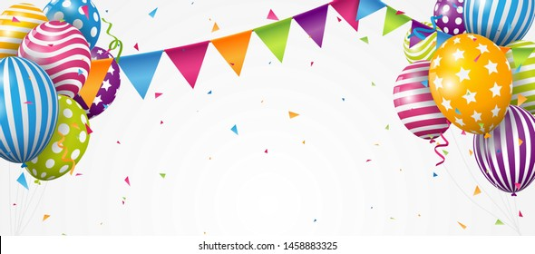 Colorful Birthday balloon with confetti