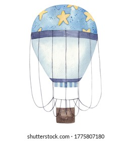 colorful blue balloon with stars, decor, children's illustration isolated on white background watercolor illustration on white background