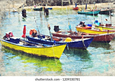 colorful boat Koh Larn, Thailand. Digital Art Impasto Oil Painting created by Photographer.