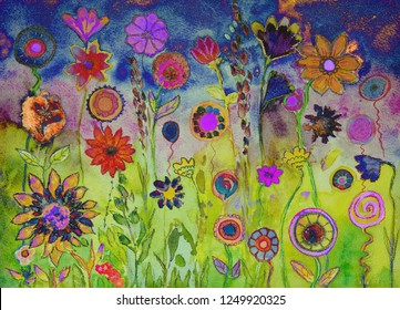 Colorful bohemian lollypops and flowers. The dabbing technique near the edges gives a soft focus effect due to the altered surface roughness of the paper.