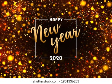 Colorful bokeh sparkle Christmas 2020 background with golden lights. Night bright gold sparkles background Glitter Dust. Festive concept with realistic effects. Magic holiday poster, banner.