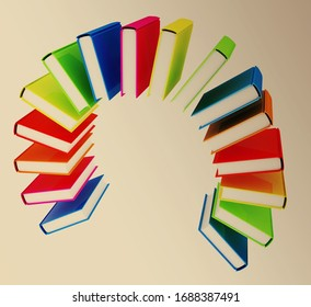 Colorful books like the rainbow on toned background. 3d render