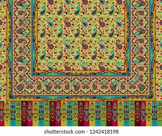 colorful border with paisley old style pashmina shawl design for textile and digital print