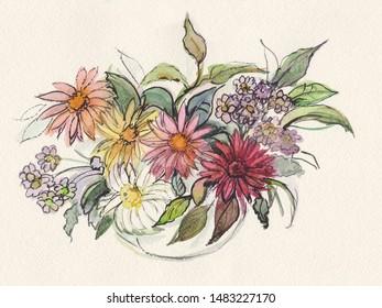 colorful bouquet of flower gerberas