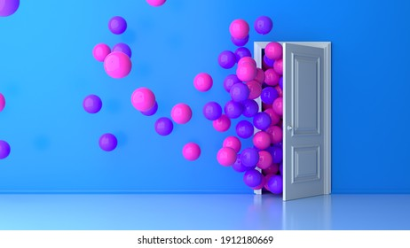 Colorful bouquet of pink purple birthday balloons flying for parties and celebrations with message space isolated on blue background. White door. 3D rendering for birthday, party