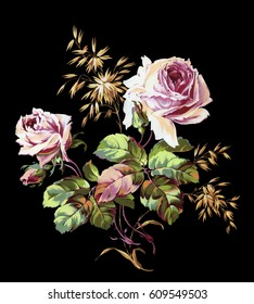 Colorful bouquet of pink roses and golden oats on a black background