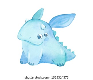 Colorful, bright blue monster isolated on a white background. Watercolor kids cartoon illustration. Hand drawn character.
