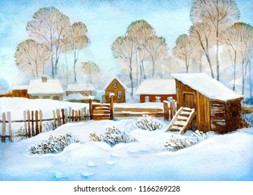 Colorful bright hand drawn watercolour sketch on paper backdrop with space for text on white sundown sky. Antique rime shack scene in snowy hamlet street in quiet frosty hoarfrost wintertime xmas day