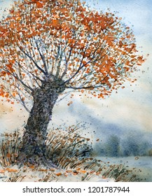Colorful bright hand drawn watercolour drawing sketch on light paper card backdrop with space for text on grey haze. Chinese paint brush style design. Quiet romantic scene. Big old lush orange pear