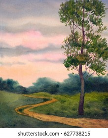 Colorful bright hand drawn watercolour sketch on paper backdrop and space for text on light rising heaven. Quiet vibrant romantic rural fall scene. Calm country scenic view. Green poplar at track way
